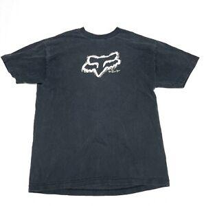Fox Racing Gray T Shirt Men Size Medium Black