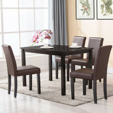 Set of 4 Dining Chair Kitchen Dinette Room Brown Leather Backrest Elegant Design