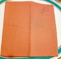 Vintage Light Orange Embroidered Napkins Set Of 4