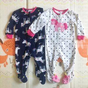 Set Of 2 Absorba Baby Girl Unicorn Fleece Zip Sleepsuits 12 Months