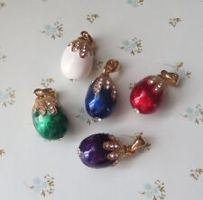 Mumonkan Russian Pendant Egg #Set01 Faberge Tradition ENAMEL Necklace White Red