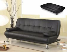 Black Sofa Bed 3 Seater PU Leather Living Room Couch Seat Reception Furniture UK