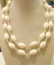 VINTAGE SIGNED LISNER WHITE LUCITE OBLONG BEADS DOUBLE STRAND CHOKER NECKLACE