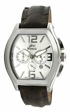 Men's Vintage Steel Chrono Stop-Watch with Italian Leather Strap by Gino Franco