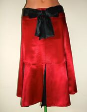 "Women's Skirt Pleated Fit & Flare Satin Rockabilly Pin Up Couture Red XL 30"" Exc"