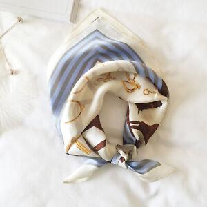 100% Silk Small Scarf Women's Vintage Horse Print Square Bandana Tie Band 52cm