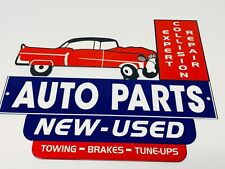 "Vintage Auto Parts Store Display 12"" X 10"" Metal Car Truck Repair Gas & Oil Sign"