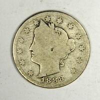 """1888 Liberty """"V"""" Nickel , GOOD , US Coin!"""