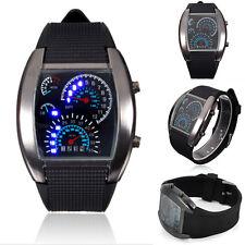Fashion Men's Black Stainless Steel Sport Digital LED Date Analog Wrist Watch