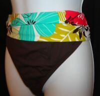 LA BLANCA Swim Bottom 12 14 16 Brown Tropical Banded Hawaiian Brief Separates