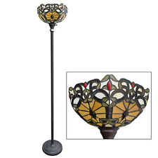 Floor Lamp Torchere Stained Cut Glass Tiffany Style Handcrafted 14'' x 72''Tall