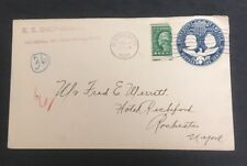 1920  0.005 cent  Washington stamp on one cent postal stationary  BISECT Cover