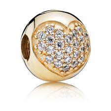 Pandora Clip Pavé Herz Gold Stopper 585 Gelbgold Charm Bead Element 750832CZ