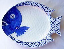 "CERAMIC Flounder Fish Shaped PLATE x6 Blue & White PLATTER 11.75""x9"" MICROWAVE"