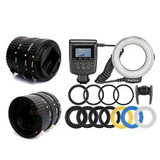 Meike Auto Focus Macro Extension Tube + RF550D 48 LED Ring Flash Light for Canon