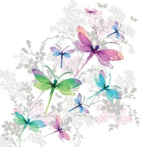 4 x Single Paper Table Napkin/33cm/3-Ply/Decoupage/Dragonfly Groove