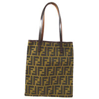 FENDI Zucca Pattern Hand Tote Bag Purse Brown Canvas Leather Italy 70567