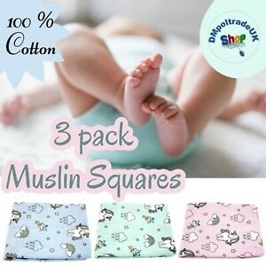 ✅3 PACK Unicorn Large Muslin Squares 100% Cotton Baby Cloth Reusable BABY SHOWER