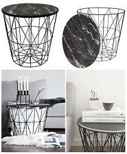 Black Metal Wire Side Table Marble Top Basket Storage Modern Furniture Home Loft