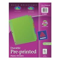 Avery Preprinted Monthly Plastic Divider - Printedjan-dec - 12 Tab[s]/set -