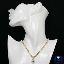 Natural 3.20 Ct Pear Shaped Emerald & Diamond Drop Pendant Necklace 14KYG