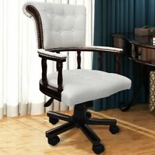 vidaXL Silla giratoria cuero Color blanco Silla de oficina Silla de escritorio