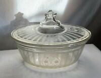 Pyrex 1925 covered Casserole. Early mark Pyrex $. Cut flowers and threaded lines