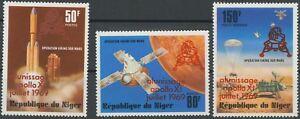 NIGER 1979 10. Jahrestag der Mondlandung von Apollo 11 drei postfrische ABARTEN