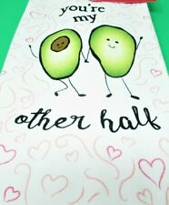 """Kitchen Towels Set of 2, dish, hand 16x28"""" - Avocado, You're My Other Half"""