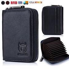 Mens Women Wallet Genuine Leather RFID Around Zipper ID Credit Card Holder Purse
