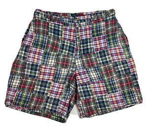 Claybrooke Sport Multicolor Plaid Patchwork Mens Shorts 34 Cotton Casual