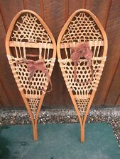 "Nice Great Snowshoes 42"" Long x 11"" Gros Louis + Leather Bindings Ready To Use"