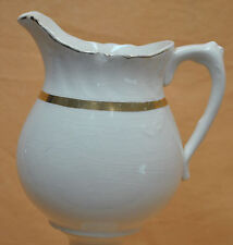"Vintage Grand Old Warwick China Water Milk Juice Pitcher Gold Rim & Band 6"" Tall"