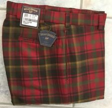 BRAND NEW-Bills khakis M2-RPNP Size 33 PLAIN FRONT Red Plaid 100% WOOL MSRP $265