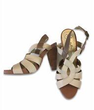 Seychelles Heels Size 8.5 Ivory/Tan Leather Sandals Stacked Heel Platform Shoes