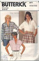 6471 Vintage Butterick Sewing Pattern Misses Loose Fitting Blouse Notched Collar