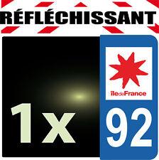 DEPARTEMENT 92 réfléchissant Plaque Auto 1 sticker autocollant reflectif