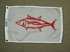 """Albacore Tuna Red White Indoor Outdoor Dyed Nylon Boat Flag Grommets 12/"""" X 18/"""""""