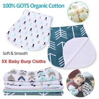 5Pcs Cotton Bibs Baby Burp Cloths Newborns Soft & Absorbent Towels Burping Rags