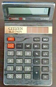 Calculatrice VINTAGE Citizen SLD-742N 2 POWER: Energie batterie(Piles) + SOLAIRE