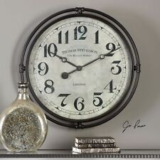 "XXL 30"" INDUSTRIAL VINTAGE IRON LONDON STYLE WALL CLOCK AGED FACE"