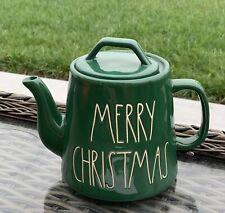 Rae Dunn Green Merry Christmas Teapot Tea Pot