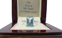 White gold finish emerald cut topaz & created diamond ring size M Free Postage