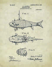 "Fishing Lure US Patent Poster Art  Antique Reels Fly Rods Flies 11""x14"" PAT09"