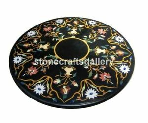 Black Marble Coffee Table Top Precious Mosaic Floral Inlay Arts Home Decors B063