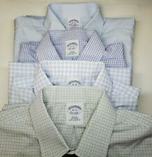 Lot of 4 Brooks Brothers 16-33 Slim Fit Non Iron Dress Shirts Cotton Checked