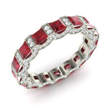 3.88 Ct Natural Diamond Ruby Eternity Band 14K Solid White Gold Ring Size 6 7 8