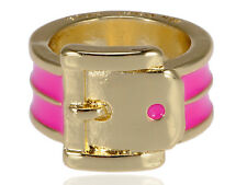 Design Buckle Pattern Fashion Ring Golden Metal Tone Pink Enameled Belt