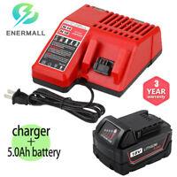 Battery Charger For Milwaukee 14.4V-18V + For M18 18V Lithium Battery 5.0Ah Pack