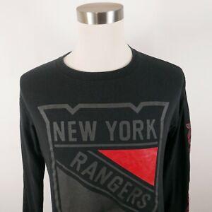 NHL New York Rangers Mens Cotton LS Crew Neck Black T Shirt by Majestic Medium